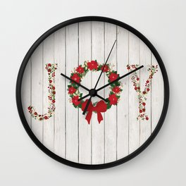Joy Wreath #2 Wall Clock