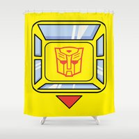 transformers Shower Curtains featuring Transformers - Bumblebee by CaptainLaserBeam