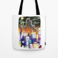 godzilla Tote Bags featuring Godzilla by David Pavon