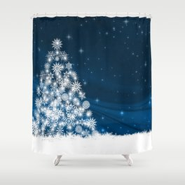 Blue Christmas Eve Snowflakes Winter Holiday Shower Curtain