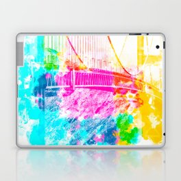 closeup Golden Gate bridge, San Francisco, USA with colorful painting abstract background Laptop & iPad Skin