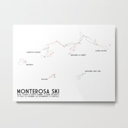 Monterosa Ski, Aosta Valley, Italy - EUR Edition (Labeled) - Minimalist Trail Art  Metal Print