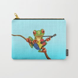 Tree Frog Playing Acoustic Guitar with Flag of Romania Carry-All Pouch