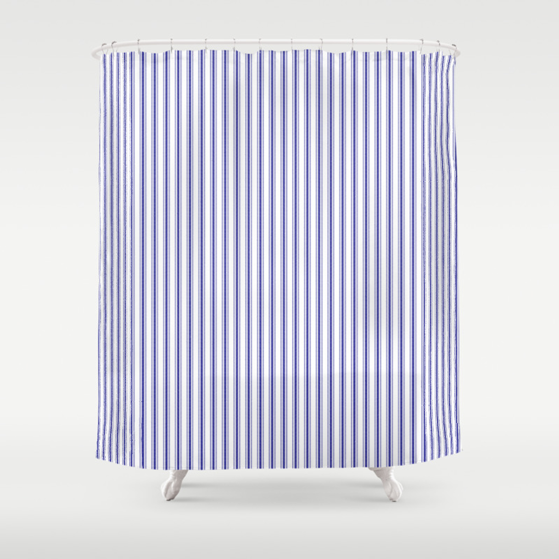 Navy Blue On White Mattress Ticking Stripes Shower Curtain