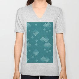 Ombré dazzling dotted squares small dark teal Unisex V-Neck