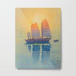 Sailing Boats, Morning Hiroshi Yoshida Modern Japanese Woodblock Print Metal Print