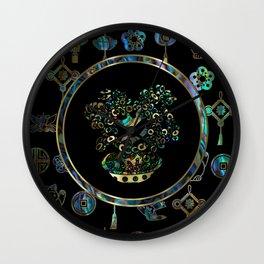 Decorative Chinese Money tree Abalone Shell Wall Clock