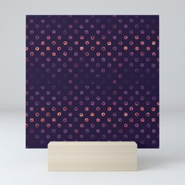 Abstract Gradient Circles on Purple Background Mini Art Print