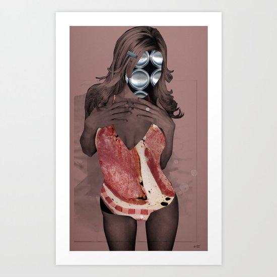 Fleisches Lust 2 - meat collage Art Print