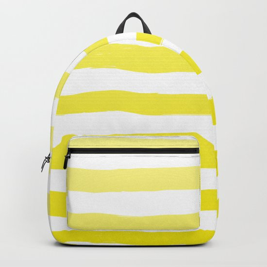 Sun Yellow Handdrawn horizontal Beach Stripes - Mix and Match with Simplicity of Life Backpack