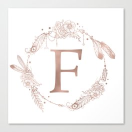 Letter F Rose Gold Pink Initial Monogram Canvas Print