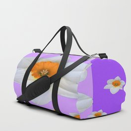 ULTRA VIOLET  WHITE DAFFODILS GARDEN ART Duffle Bag
