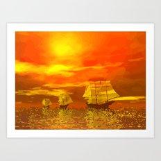 Segelschiffe im Sonnenschein Art Print