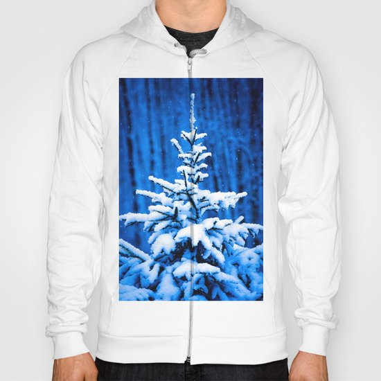 Snow covered Christmas tree Hoody