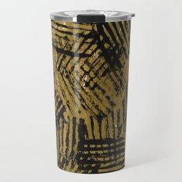 Black golden abstract painting Travel Mug