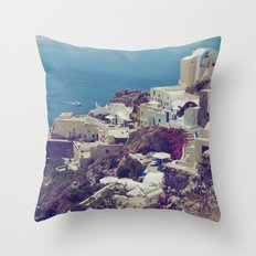 Oia from afar  Throw Pillow