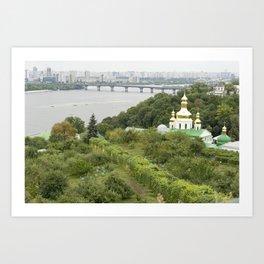 Kiev, Ukraine, Church, Bridge Art Print