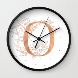 Letter O Rose Gold Monogram / Initial Botanical Illustration Wall Clock