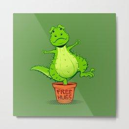 Cactus Rex Free Hugs Metal Print
