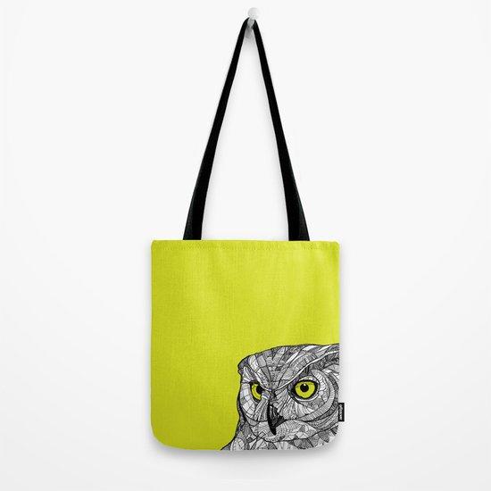 Green Eyed Owl Tote Bag