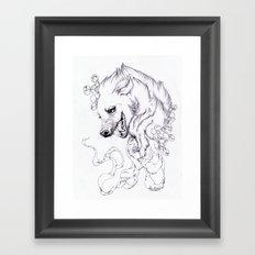 Hyena and Blossoms Framed Art Print
