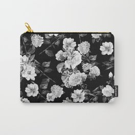 Black and White Botanic Pattern Carry-All Pouch