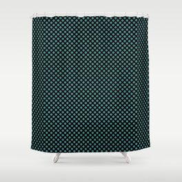 Black and Teal Polka Dots Shower Curtain