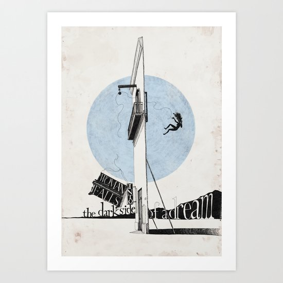 Woman Falls into the Dark Side of a Dream  Art Print