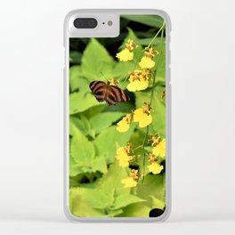 Butterfly And Orchids Clear iPhone Case