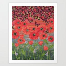 red sky, butterflies, poppies, & snails Art Print