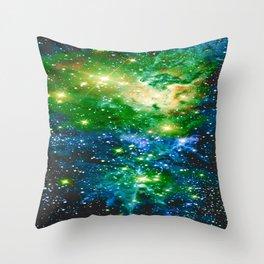 Fox Fur Nebula Teal Green Throw Pillow