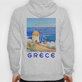 1949 Greece Island of Mykonos Travel Poster Hoody