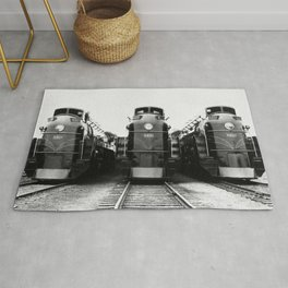 Three of a Kind Train Locomotives - Trois locomotives du même genre  Rug