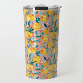 Lucky Lemons Watercolor Fruit Pattern in Peach and Yellow Travel Mug