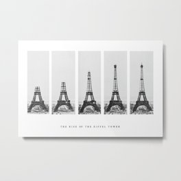 1888-1889 The Rise of the Eiffel Tower Construction Sequence black and white photography Metal Print