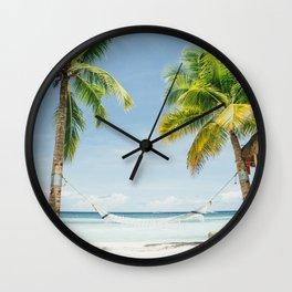 Palm trees, hammock Wall Clock