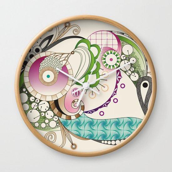 Autumn tangle, sienna - purple color set Wall Clock