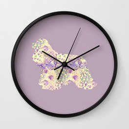 American Cocker Spaniel Vintage Floral Pattern Mauve Lilac Lavender Cream Wall Clock