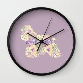 American Cocker Spaniel Vintage Floral Pattern Mauve Lilac Lavender Cream Wall Clock