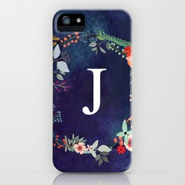 Personalized Monogram Initial Letter J Floral Wreath Artwork iPhone Case