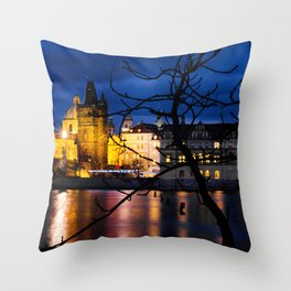 View of Prague from Kampa Island by night Throw Pillow