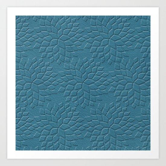 Leather Look Petal Pattern - Niagara Color Art Print