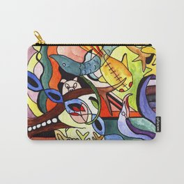Childhood Series: Playtime with Animals Watercolor Painting Carry-All Pouch