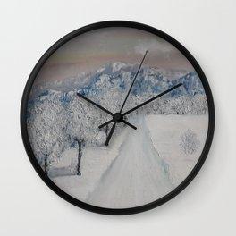 Winter Path, Original Contemporary Oil Painting, Modern Art, Fine Art by Lu aka Luna Smith Wall Clock