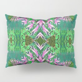 Futuristic Floral in Spring Green and Fresh Bloom Pillow Sham