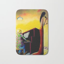 African American Masterpiece 'Moonlight Jazz and Piano' by Benny Andrews Bath Mat