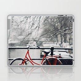 Red Bike in the Snow Laptop & iPad Skin