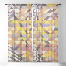 Triangle Pattern No.8 Black and Yellow Sheer Curtain