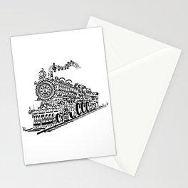 Musical Train (Steam Train) Silhouette Art Stationery Cards
