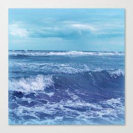Blue Atlantic Ocean White Cap Waves Clouds in Sky Photograph Canvas Print